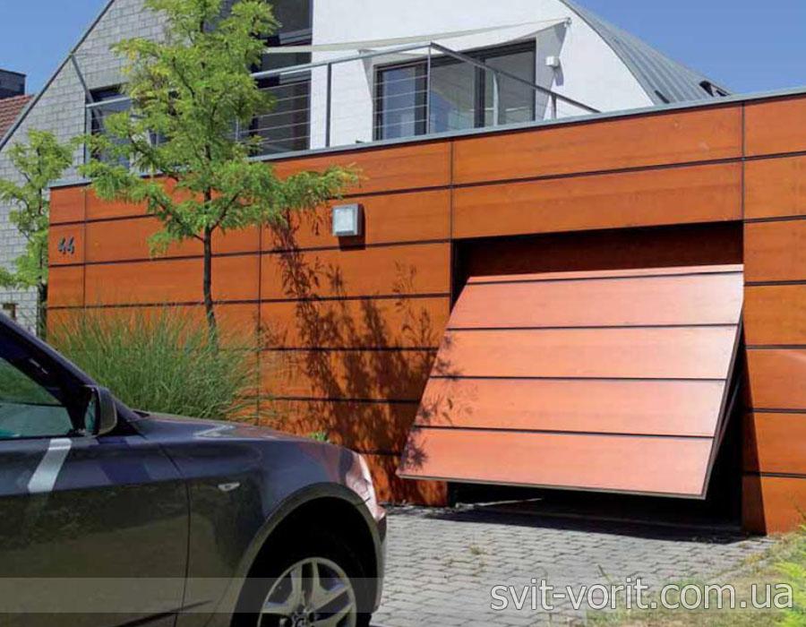 секционные гаражные ворота поворотного типа